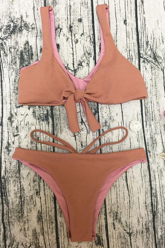 E&C Pink Scoop Neck Front Tie Strappy High Cut Sexy Bikini Swimsuit