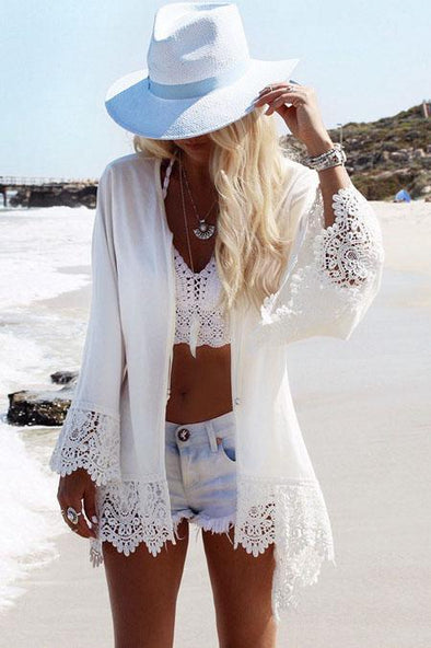 White Eagle Print Crochet Cardigan Boho Beach Cover Up Chiffon Kimono