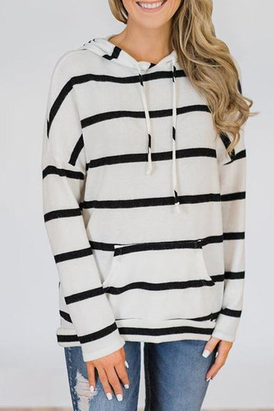 Casual Hooded Collar Striped T-shirt