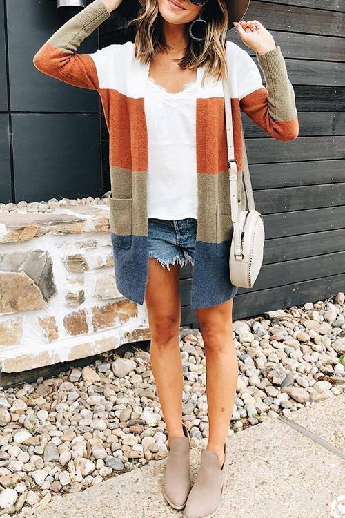 Casual Striped Knit Cardigan