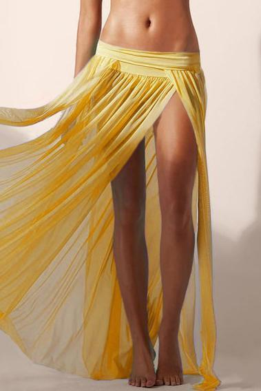 E&C Yellow Elastic Waist High Slit Pleated See Through Sexy Maxi Skirt Cover Up