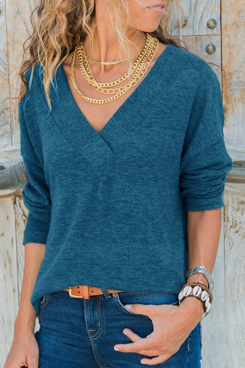 Solid Color V-neck Long-sleeved Sweater