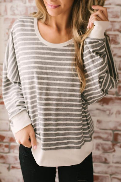 Casual Striped Backless T-shirt
