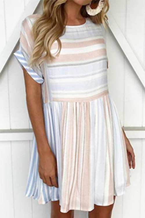Stylish Round Neck Striped Mini Dress