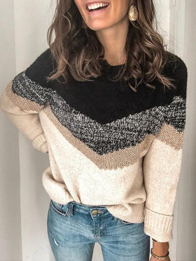 Color Block Print Sweater