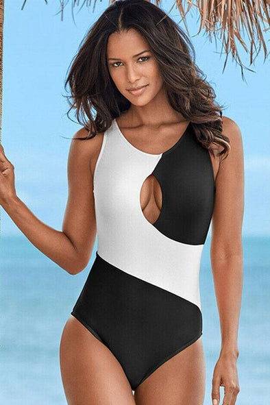 Contrast Cutout Front Round Neck One Piece Swimsuit