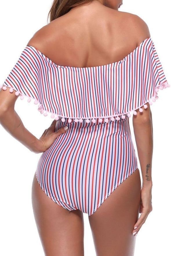Striped Cute Pompon Trim Ruffle Off Shoulder One Piece Swimsuit