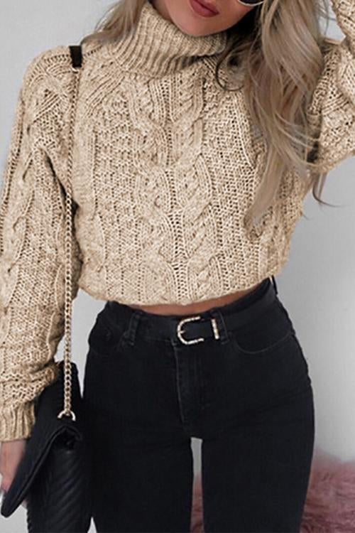 Casual Turtleneck Pure Color Knitted Sweater