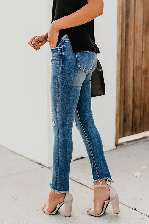 Casual Shredded Hairy Jeans