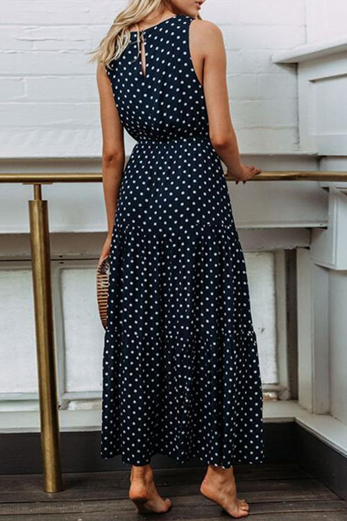 Fashion Dot Navy Blue And Maxi Dress