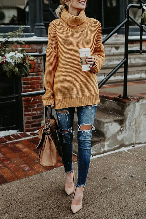 Solid Color Commuter Turtleneck Sweater Female