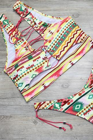 Pink Yellow Strappy Tribal Print Side Tie High Cut Cheeky Two Piece Swimsuit