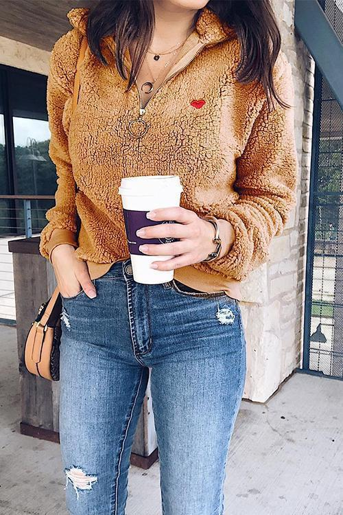 Lapel Zipper Love Embroidered Fur Sweater