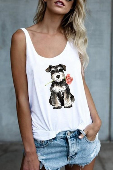 Dog sexy sleeveless print vest