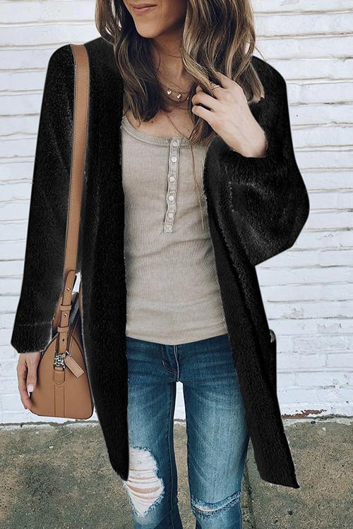 Plush Pocket Velvet Padded Cardigan