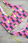 Pink Strappy Pineapple Print Side Tie High Cut Cheeky Two Piece Swimsuit