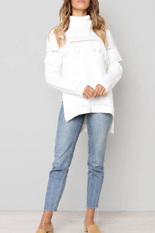Lrregular Tassel Turtleneck Pullover