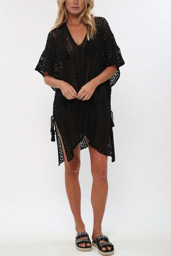 Black Crochet Hollow Out Sexy Beach Bathing Suit Cover Up Dress