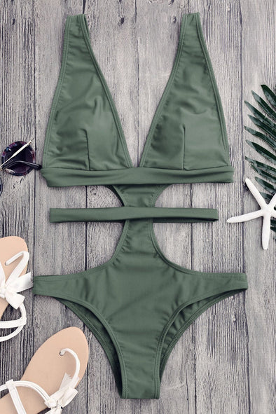 E&C Army Green Cutout Plunging Neck Bandage Cheeky Sexy Monokini Swimwear