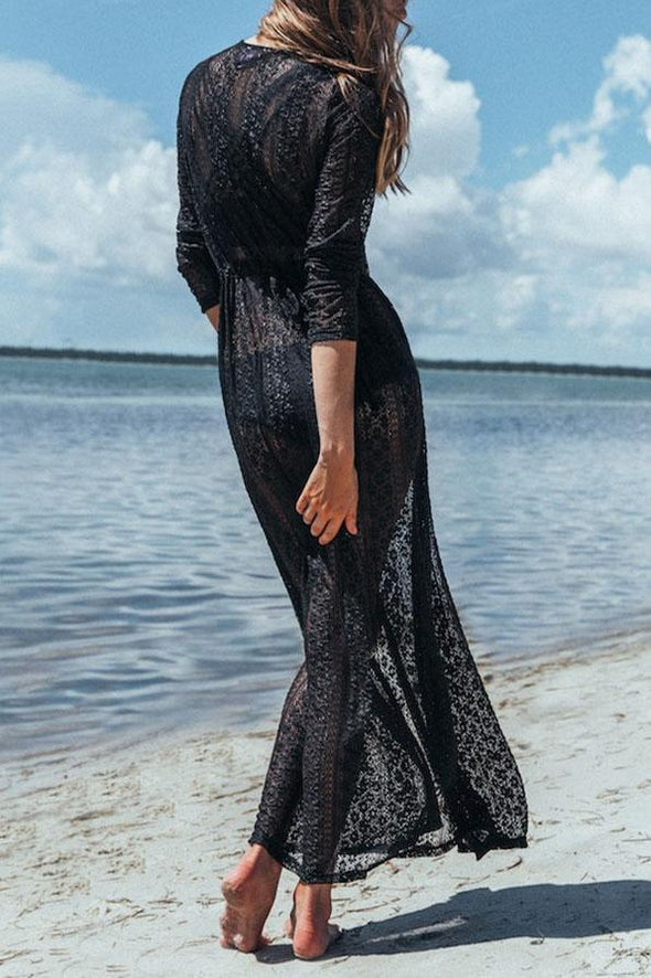Black Boho Sheer Lace Long Sexy Beach Cover Up Dress