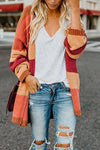 Contrast Stitching Sweater Cardigan
