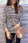 Casual Buttons Striped Black T-shirt