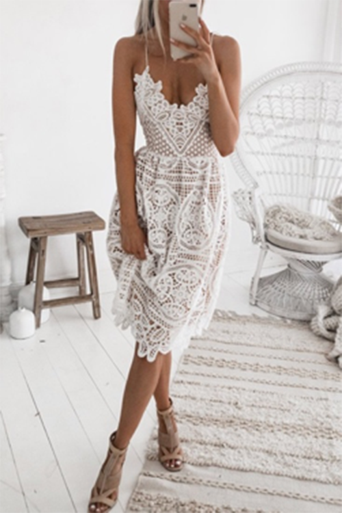 Sexy V-neck Halter White Knee Dress