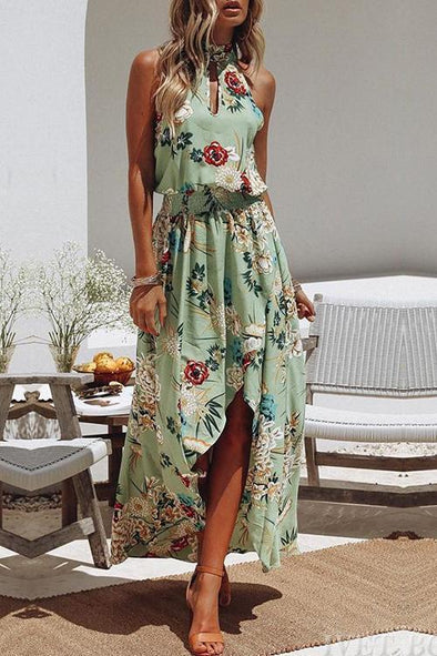 Fashion Round Neck Floral Print Green Dress