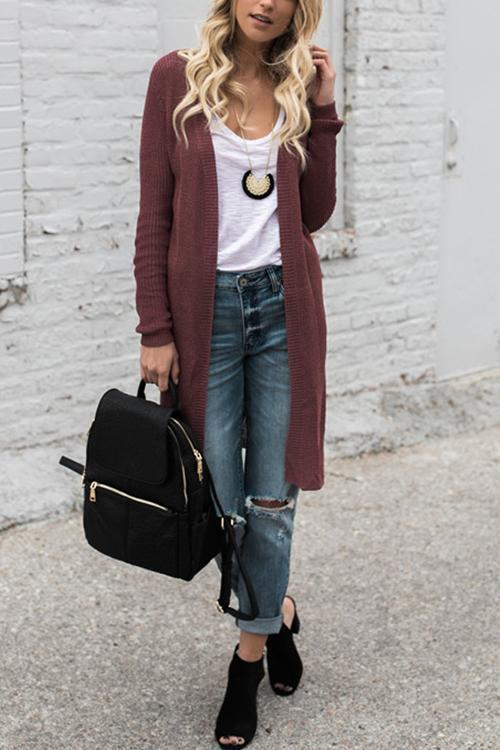 Solid Color Long Loose Sweater