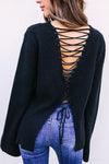 Rear V-Tie Strap Trumpet Sleeve Cardigan Sweater