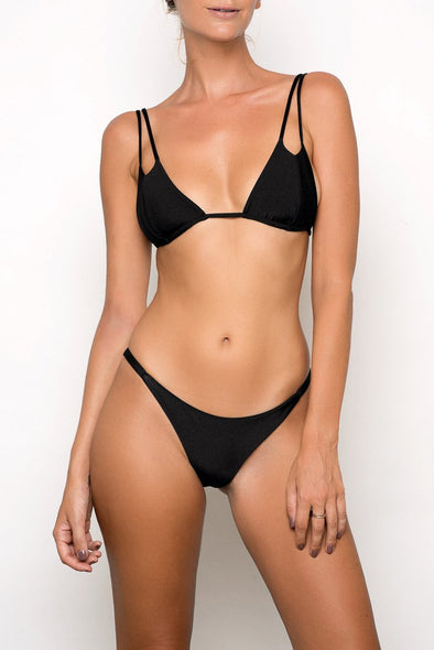 E&C Black Micro String Thong High Cut Sexy Two Piece Bikini Swimsuit