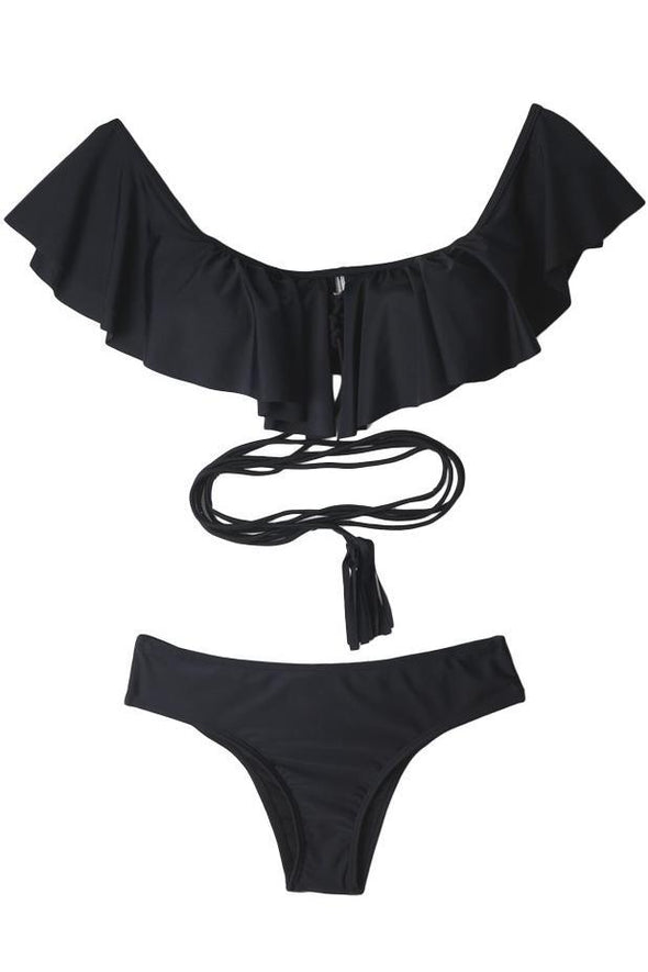 E&C Black Off Shoulder Ruffle Strappy Pucker Back Cheeky Sexy Bikini Swimsuit