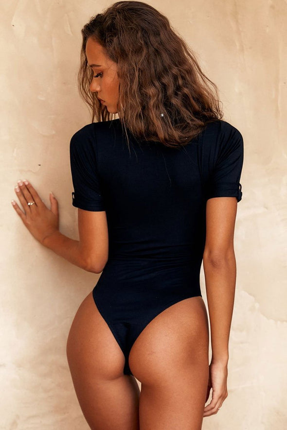 High Leg Button Details Sleeved Brazilian One Piece Swimsuit