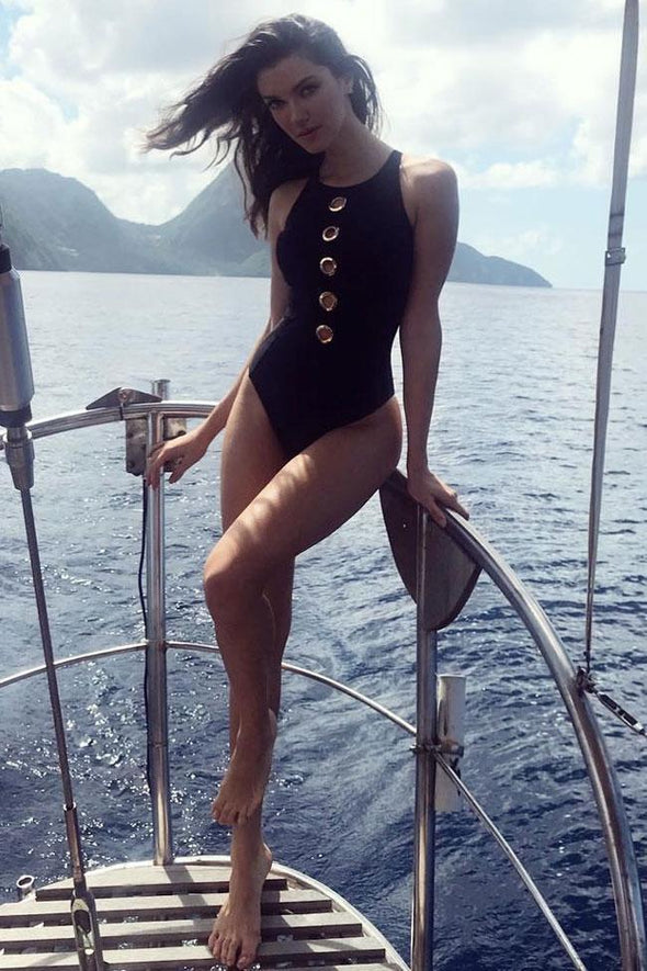 HIGH LEG RACERBACK METAL RING FRONT HIGH NECK ONE PIECE SWIMSUIT