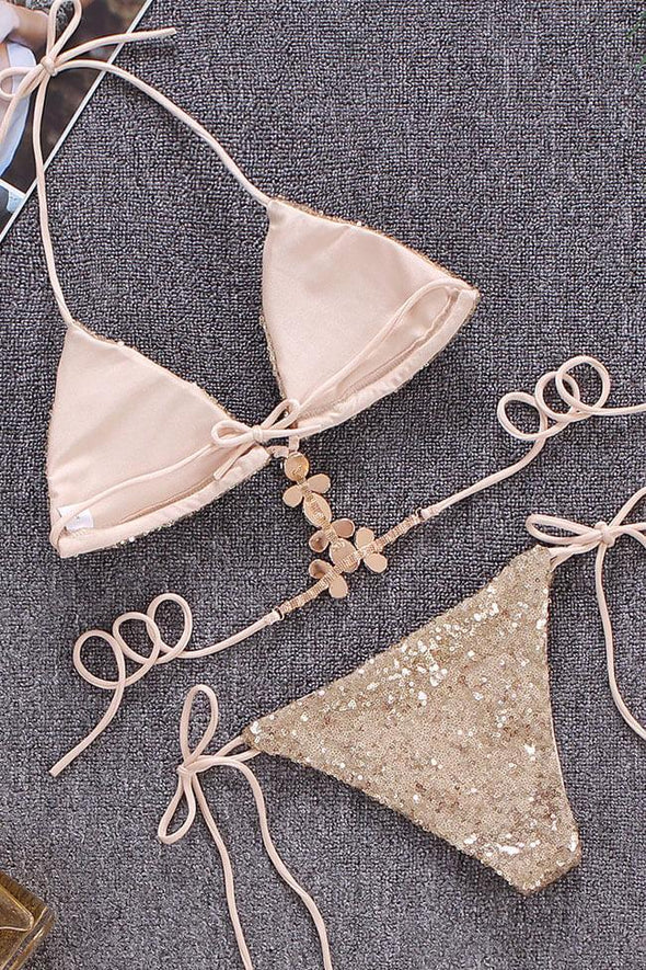 Luxe Rhinestone Sequin Strappy Triangle Bikini Swimsuit - Two Piece Set