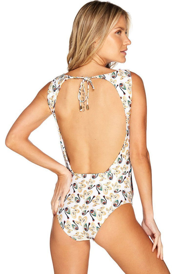 OPEN BACK BAROQUE PRINTED HIGH NECK ONE PIECE SWIMSUIT