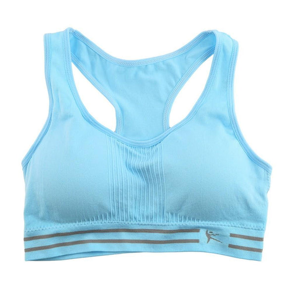 Fitness workout cropped padded sports bra - Air - Quick dry - Sky blue