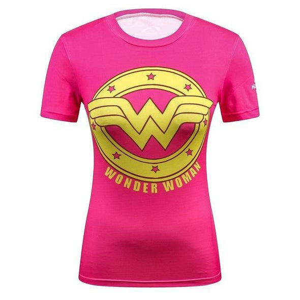 Fitness compression T-shirt - Wonder Woman Pink