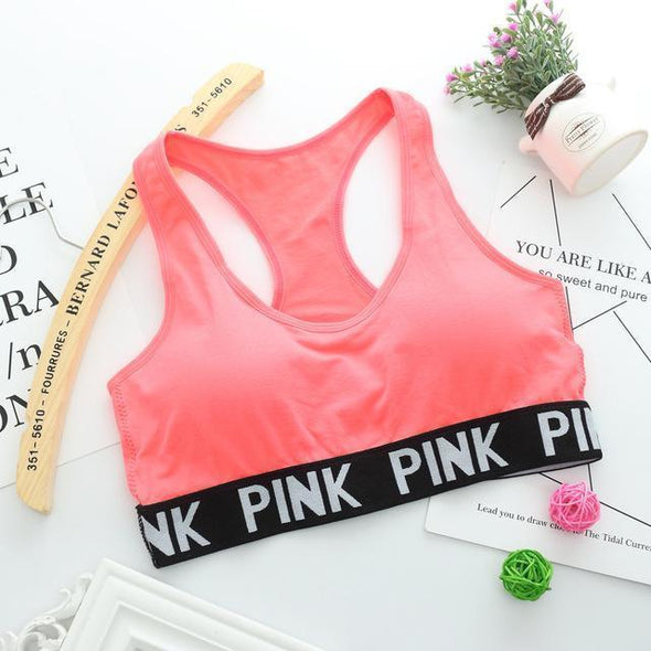 Fitness workout padded sports bra - Pinky solid - quick dry - 6 colors
