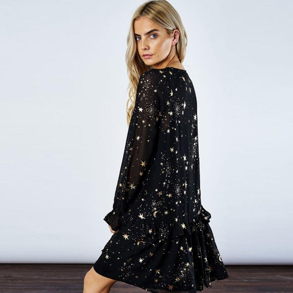 Black Star Printed Ruffles Long Sleeve Casual Dresses