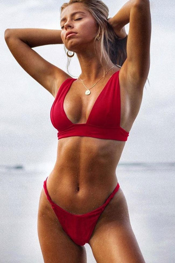 Sexy High Leg V Neck Triangle Bikini Swimsuit - Two Piece Set