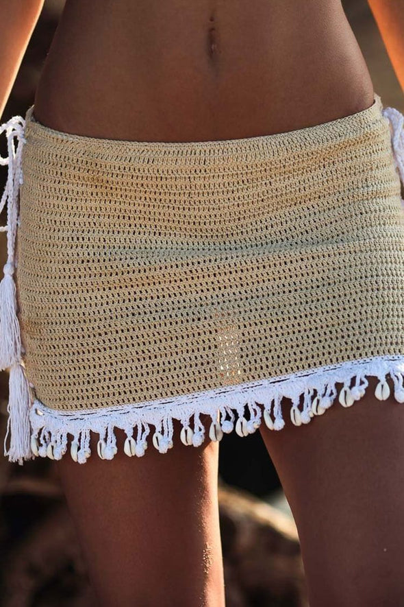 Shells Tassel Lace Up Crochet Beach Skirt