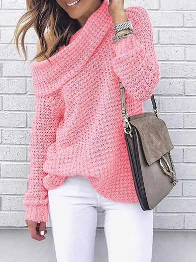 Solid Color Turtleneck Knitted Sweater