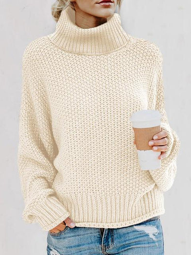 Turtleneck Balloon Long Sleeve Pullover Sweater