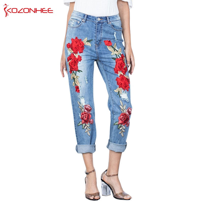 Stretching 3D Torn Jeans With Embroidery Rose Flower Elastic Jeans Women's With  Female Large Size