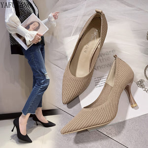 Knitted High Heels Single Shoes