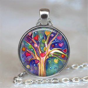 Tree Of Life Glass Cabochon Statement Necklace & Pendant Jewelry