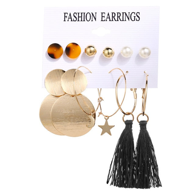 Vintage Tassel Acrylic Bohemian Earrings Set