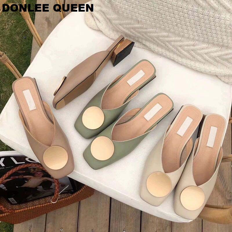 2020 Brand Designer Women Slippers Slip On Mules Flat Heel Casual Shoes British Buckle Slides Wooden Block Heels Summer Footwear