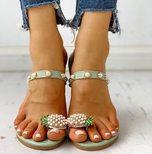 Women Flats Slippers Summer Casual Flip Flops Flowers Pearl